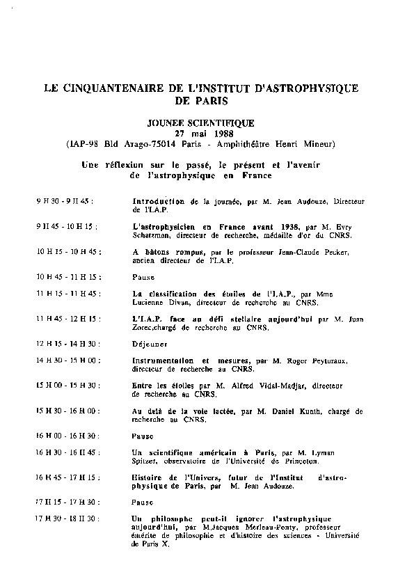 Programme Journée scientifique 27 mai 1988
